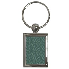 Whimsical Feather Pattern, Forest Green Key Chain (rectangle) by Zandiepants