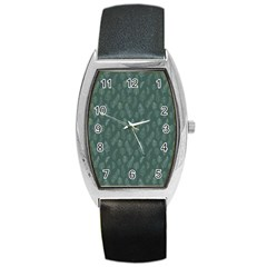 Whimsical Feather Pattern, Forest Green Barrel Style Metal Watch by Zandiepants