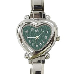 Whimsical Feather Pattern, Forest Green Heart Italian Charm Watch by Zandiepants