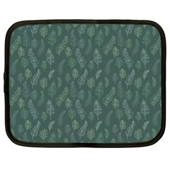 Whimsical Feather Pattern, Forest Green Netbook Case (xl) by Zandiepants