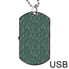 Whimsical Feather Pattern, Forest Green Dog Tag Usb Flash (one Side) by Zandiepants