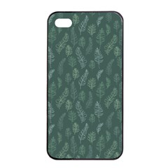 Whimsical Feather Pattern, Forest Green Apple Iphone 4/4s Seamless Case (black) by Zandiepants