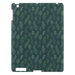 Whimsical Feather Pattern, Forest Green Apple Ipad 3/4 Hardshell Case by Zandiepants