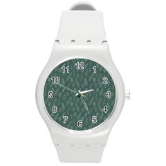 Whimsical Feather Pattern, Forest Green Round Plastic Sport Watch (m) by Zandiepants