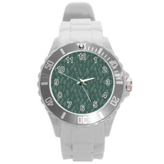 Whimsical Feather Pattern, Forest Green Round Plastic Sport Watch (l) by Zandiepants