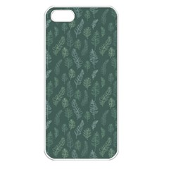 Whimsical Feather Pattern, Forest Green Apple Iphone 5 Seamless Case (white) by Zandiepants