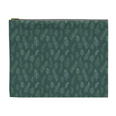 Whimsical Feather Pattern, Forest Green Cosmetic Bag (xl) by Zandiepants