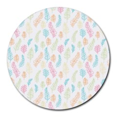 Whimsical Feather Pattern,fresh Colors, Round Mousepad by Zandiepants