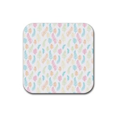 Whimsical Feather Pattern,fresh Colors, Rubber Coaster (square) by Zandiepants