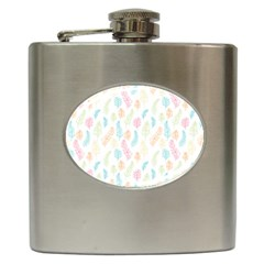 Whimsical Feather Pattern,fresh Colors, Hip Flask (6 Oz) by Zandiepants