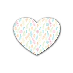 Whimsical Feather Pattern,fresh Colors, Heart Coaster (4 Pack) by Zandiepants