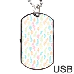 Whimsical Feather Pattern,fresh Colors, Dog Tag Usb Flash (one Side) by Zandiepants