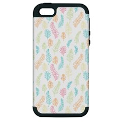 Whimsical Feather Pattern,fresh Colors, Apple Iphone 5 Hardshell Case (pc+silicone) by Zandiepants