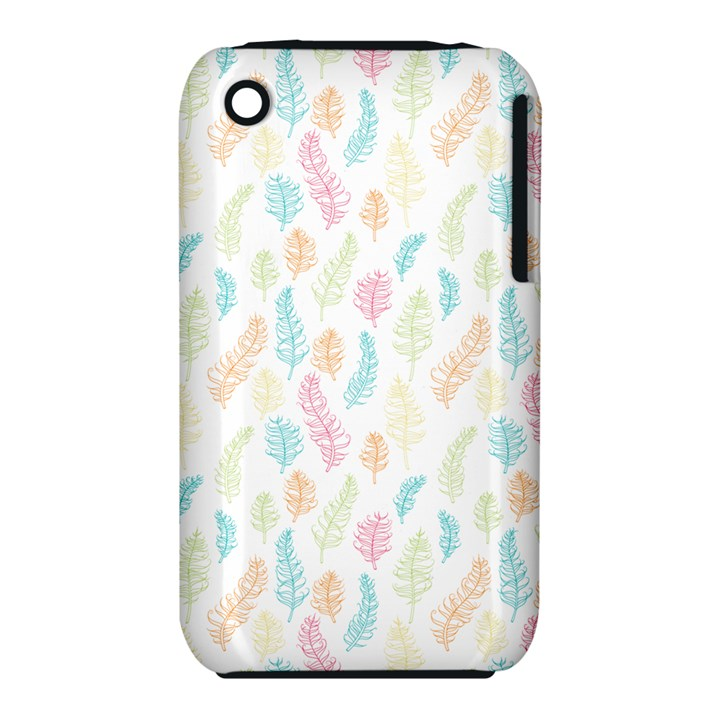 Whimsical Feather Pattern,Fresh Colors, Apple iPhone 3G/3GS Hardshell Case (PC+Silicone)