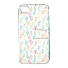 Whimsical Feather Pattern,Fresh Colors, Apple iPhone 4/4S Hardshell Case with Stand by Zandiepants