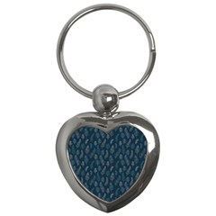 Whimsical Feather Pattern, Midnight Blue, Key Chain (heart) by Zandiepants