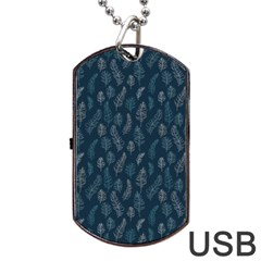 Whimsical Feather Pattern, Midnight Blue, Dog Tag Usb Flash (one Side) by Zandiepants