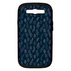 Whimsical Feather Pattern, Midnight Blue, Samsung Galaxy S Iii Hardshell Case (pc+silicone) by Zandiepants