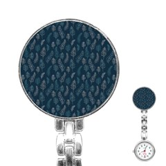 Whimsical Feather Pattern, Midnight Blue, Stainless Steel Nurses Watch by Zandiepants