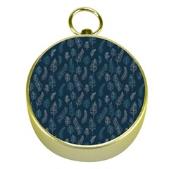 Whimsical Feather Pattern, Midnight Blue, Gold Compass by Zandiepants