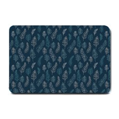 Whimsical Feather Pattern, Midnight Blue, Small Doormat by Zandiepants