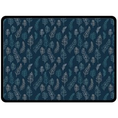 Whimsical Feather Pattern, Midnight Blue, Double Sided Fleece Blanket (large) by Zandiepants
