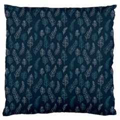 Whimsical Feather Pattern, Midnight Blue, Large Flano Cushion Case (two Sides) by Zandiepants