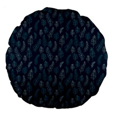 Whimsical Feather Pattern, Midnight Blue, Large 18  Premium Flano Round Cushion  by Zandiepants