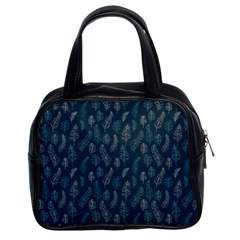Whimsical Feather Pattern, Midnight Blue, Classic Handbag (two Sides) by Zandiepants