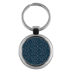 Whimsical Feather Pattern, Midnight Blue, Key Chain (round) by Zandiepants