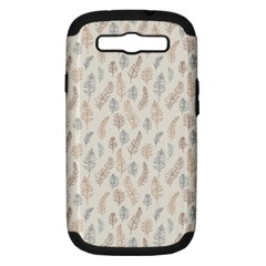 Whimsical Feather Pattern, Nature Brown, Samsung Galaxy S Iii Hardshell Case (pc+silicone) by Zandiepants
