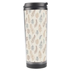 Whimsical Feather Pattern, Nature Brown, Travel Tumbler by Zandiepants