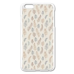Whimsical Feather Pattern, Nature Brown, Apple Iphone 6 Plus/6s Plus Enamel White Case by Zandiepants