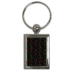 Whimsical Feather Pattern, Bright Pink Red Blue Green Yellow, Key Chain (rectangle) by Zandiepants