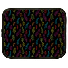 Whimsical Feather Pattern, bright pink red blue green yellow, Netbook Case (XXL) by Zandiepants