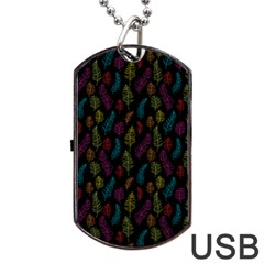 Whimsical Feather Pattern, Bright Pink Red Blue Green Yellow, Dog Tag Usb Flash (one Side) by Zandiepants