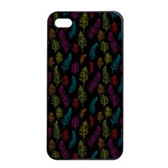 Whimsical Feather Pattern, Bright Pink Red Blue Green Yellow, Apple Iphone 4/4s Seamless Case (black) by Zandiepants