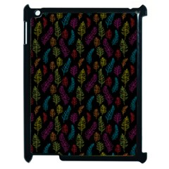 Whimsical Feather Pattern, Bright Pink Red Blue Green Yellow, Apple Ipad 2 Case (black) by Zandiepants