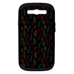 Whimsical Feather Pattern, Bright Pink Red Blue Green Yellow, Samsung Galaxy S Iii Hardshell Case (pc+silicone) by Zandiepants