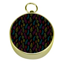 Whimsical Feather Pattern, Bright Pink Red Blue Green Yellow, Gold Compass