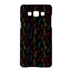 Whimsical Feather Pattern, Bright Pink Red Blue Green Yellow, Samsung Galaxy A5 Hardshell Case  by Zandiepants