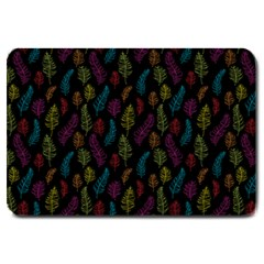 Whimsical Feather Pattern, Bright Pink Red Blue Green Yellow, Large Doormat by Zandiepants