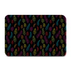Whimsical Feather Pattern, Bright Pink Red Blue Green Yellow, Plate Mat by Zandiepants