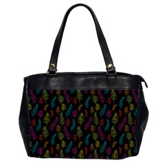 Whimsical Feather Pattern, Bright Pink Red Blue Green Yellow, Oversize Office Handbag (2 Sides) by Zandiepants