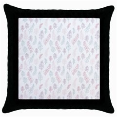 Whimsical Feather Pattern, Soft Colors, Throw Pillow Case (black) by Zandiepants