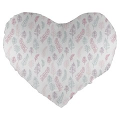 Whimsical Feather Pattern, Soft Colors, Large 19  Premium Flano Heart Shape Cushion by Zandiepants