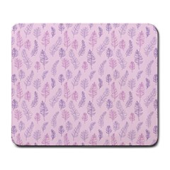 Whimsical Feather Pattern, Pink & Purple, Large Mousepad by Zandiepants