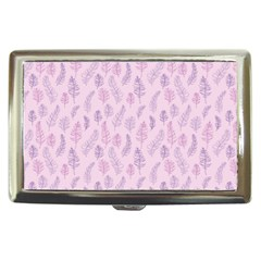Whimsical Feather Pattern, Pink & Purple, Cigarette Money Case by Zandiepants