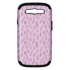 Whimsical Feather Pattern, Pink & Purple, Samsung Galaxy S Iii Hardshell Case (pc+silicone) by Zandiepants