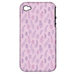Whimsical Feather Pattern, Pink & Purple, Apple Iphone 4/4s Hardshell Case (pc+silicone) by Zandiepants
